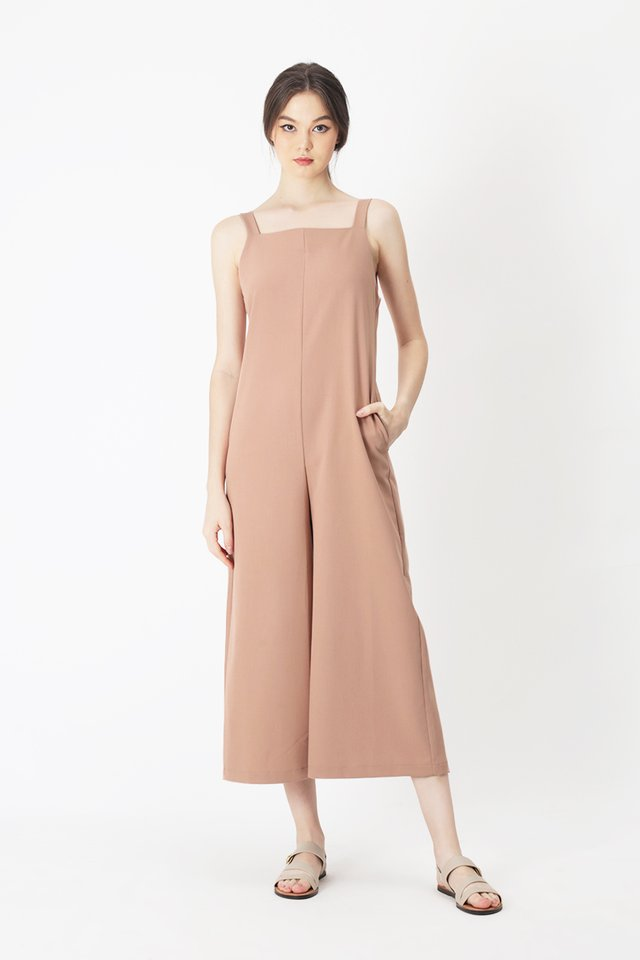 SYLVIE STRAIGHT CUT JUMPSUIT IN FRENCH PINK