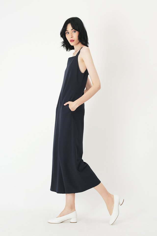 SYLVIE STRAIGHT CUT JUMPSUIT IN NAVY