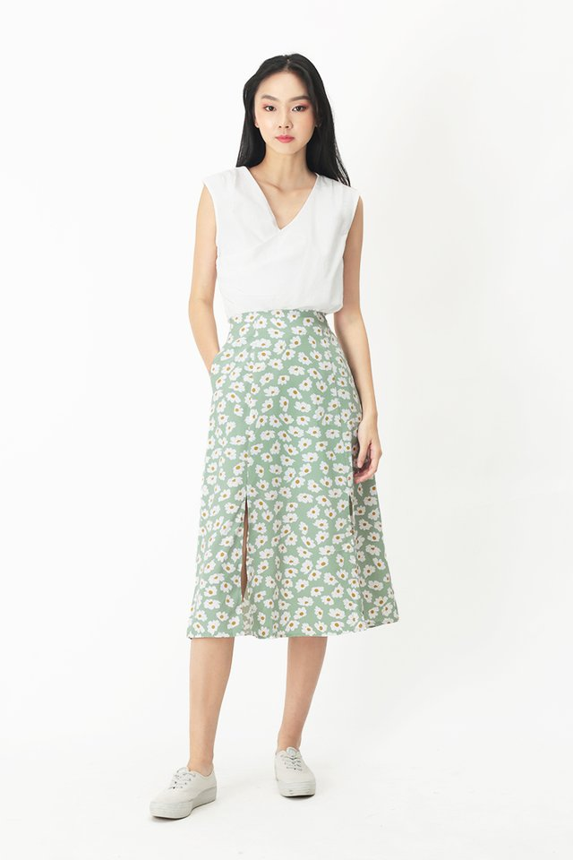 AMY FLORAL MIDI SKIRT IN SAGE