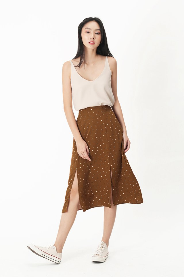 AMY POLKADOT MIDI SKIRT IN COFFEE