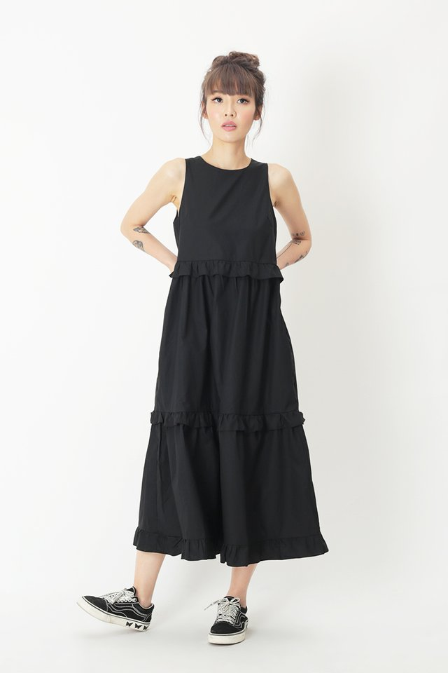 CHLOE FRILL MIDI DRESS IN BLACK