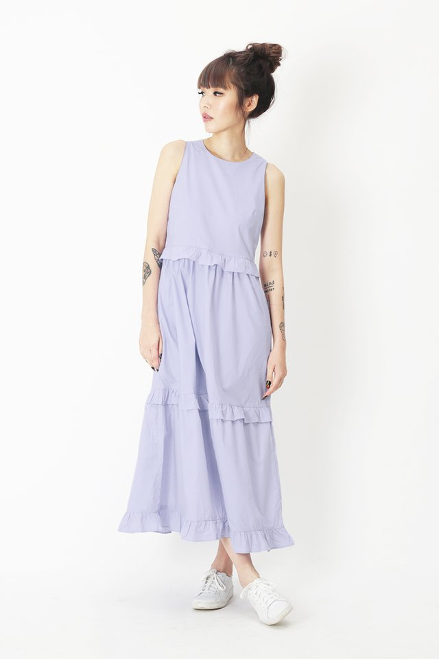 CHLOE FRILL MIDI DRESS IN LAVENDER