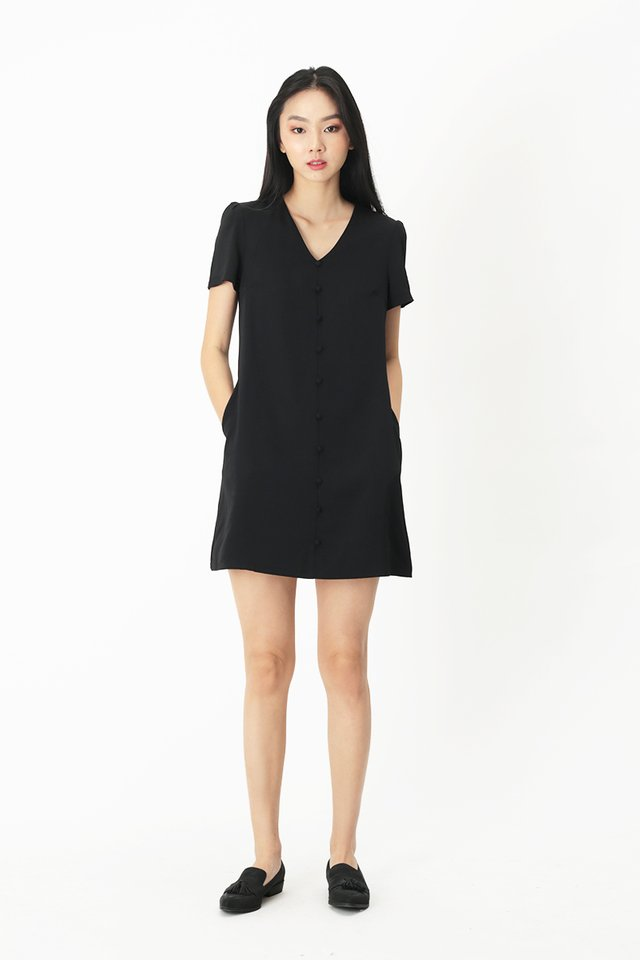HANI BUTTON DRESS IN BLACK
