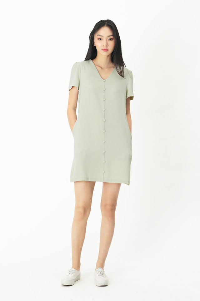 HANI BUTTON DRESS IN MIST GREEN