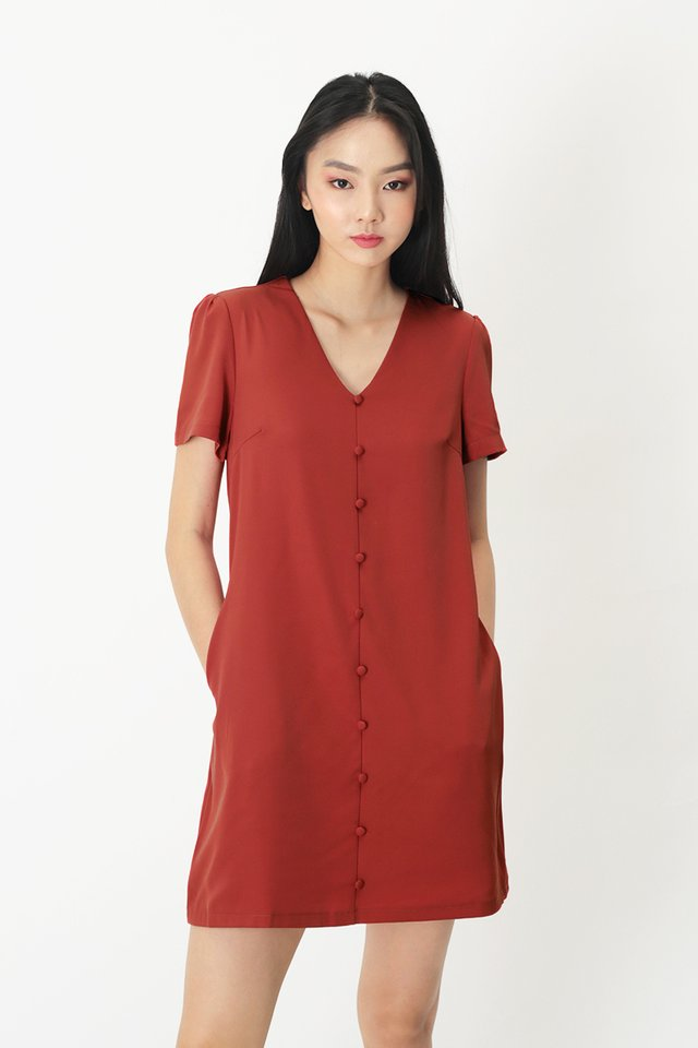 HANI BUTTON DRESS IN ROSEWOOD