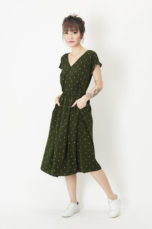 JANELLA POLKADOT DRESS IN VINEYARD GREEN