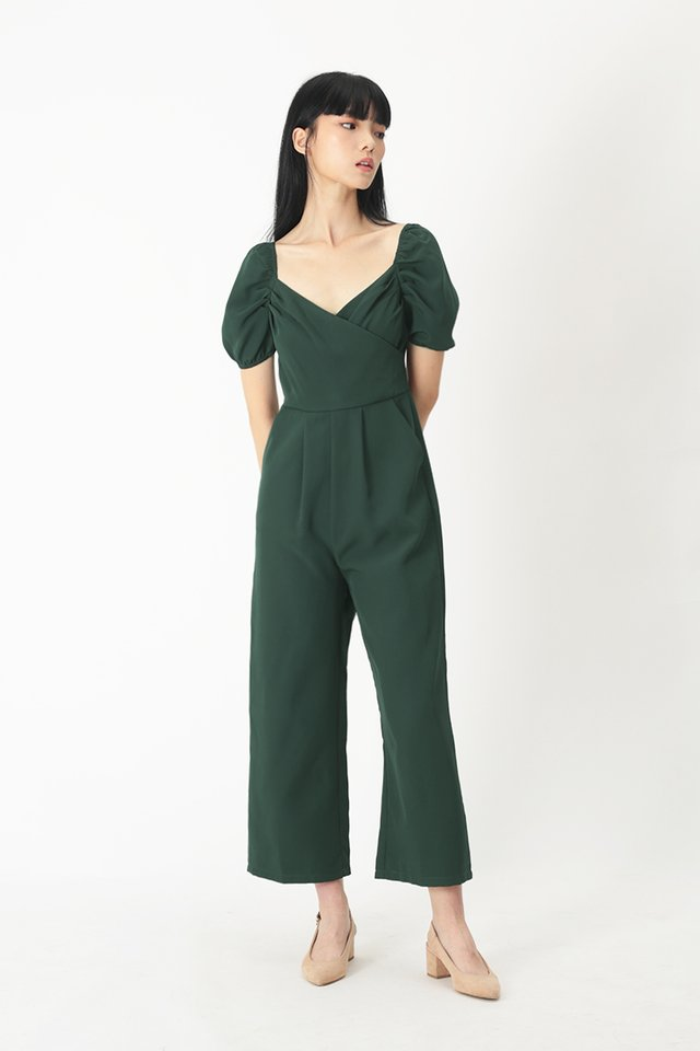 ROMILLY OVERLAP JUMPSUIT IN FOREST