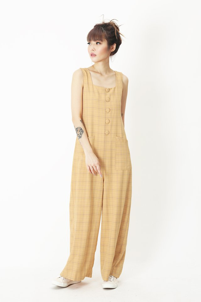 SURI PLAID BUTTON JUMPSUIT IN MELLOW YELLOW