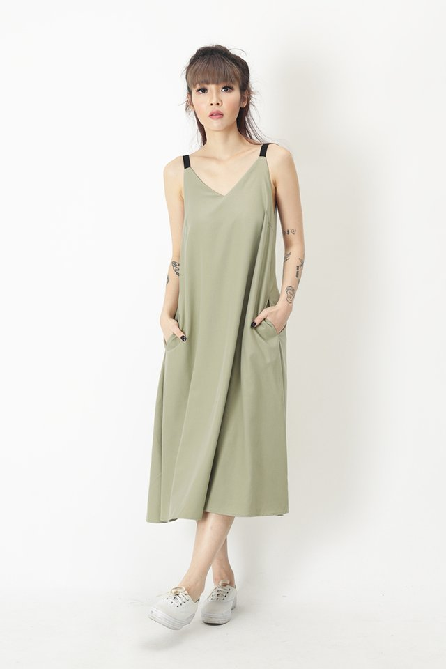 ANJA CONTRAST MIDI DRESS IN SAGE