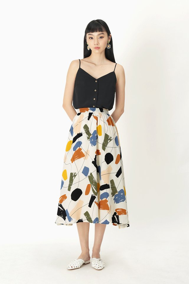 AUDREY ABSTRACT MIDI SKIRT IN WHITE