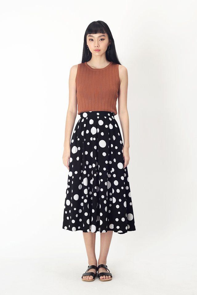 AUDREY POLKADOT MIDI SKIRT IN BLACK