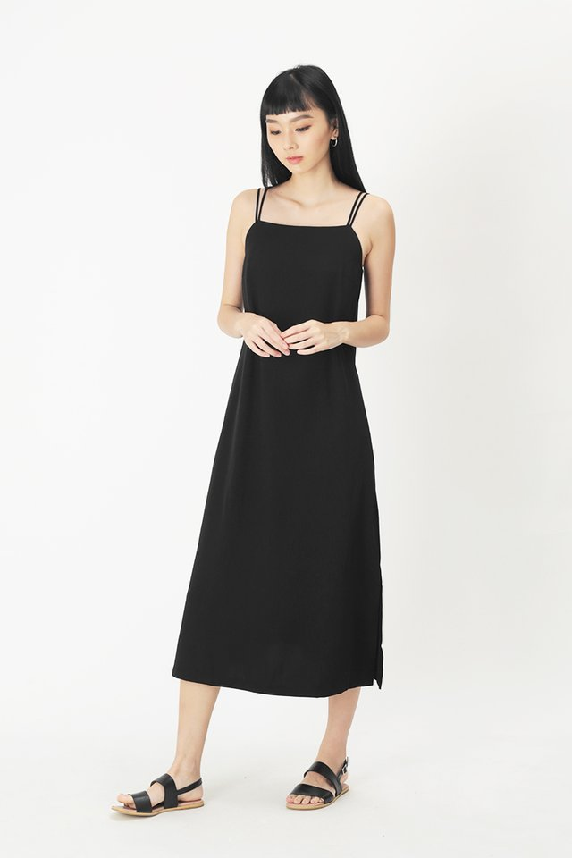 ELODIE SPAG MIDI DRESS IN BLACK