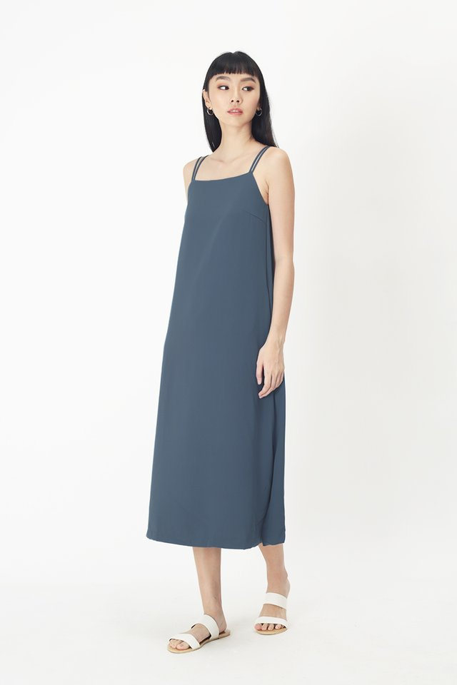 ELODIE SPAG MIDI DRESS IN PACIFIC BLUE
