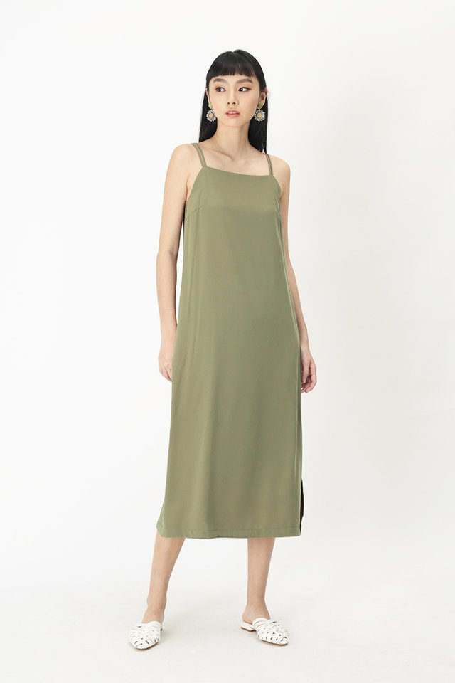 ELODIE SPAG MIDI DRESS IN SAGE