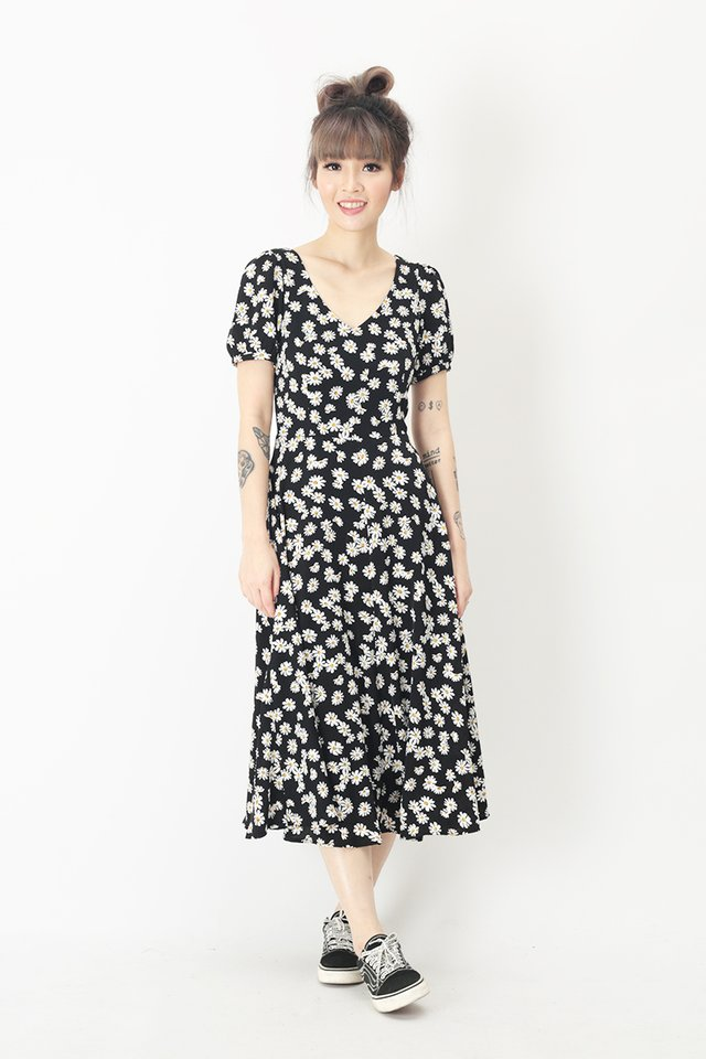 HARPER DAISY MIDI DRESS IN BLACK