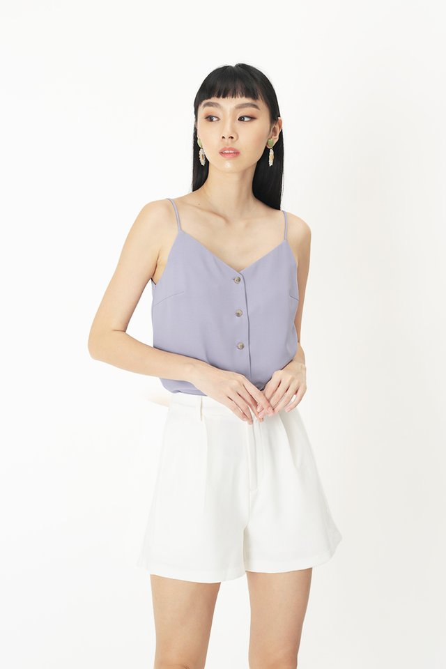 LEILA BUTTON SPAG TOP IN LAVENDER
