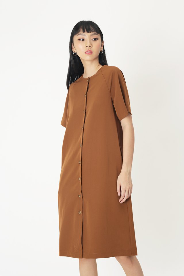 NAVAEH MIDI DRESS IN CARAMEL