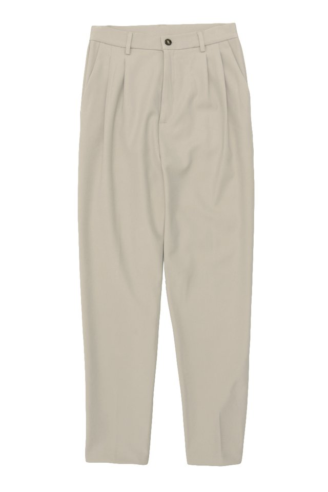 PORTER DOUBLE PLEATED TROUSERS IN BONE