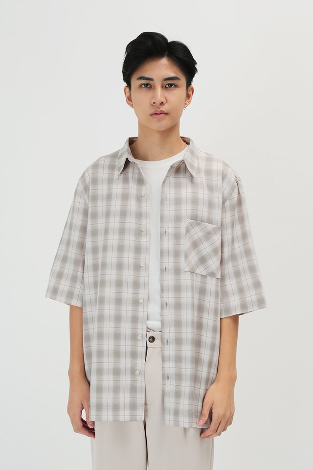 ARNOLD SHORT SLEEVE CHECKED SHIRT IN BONE