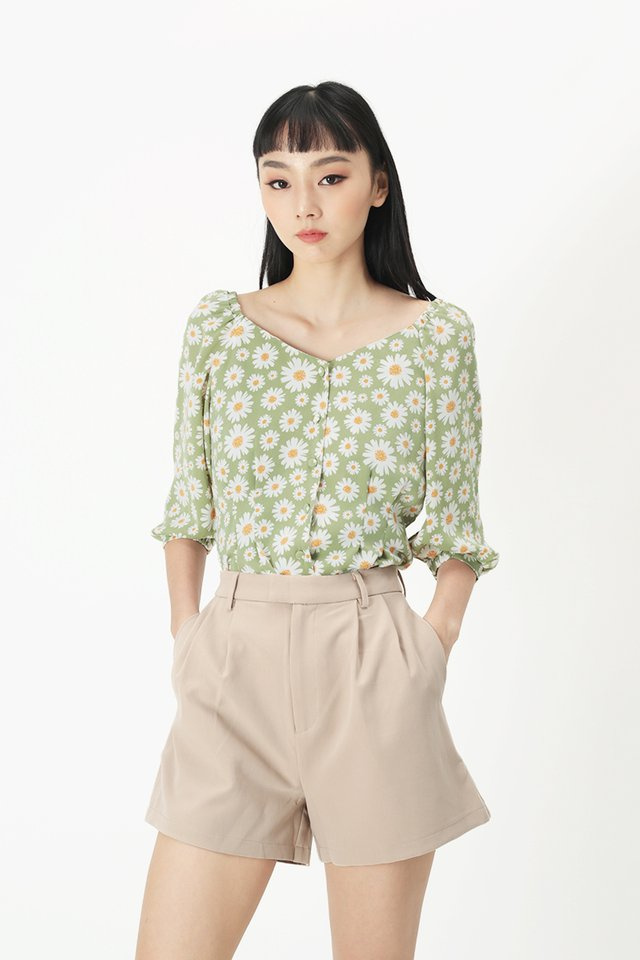 BETH FLORAL BUTTON BLOUSE IN SAGE