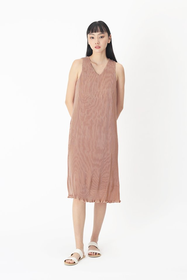 CHARLIZE PLEATED MIDI DRESS IN FRENCH ROSE