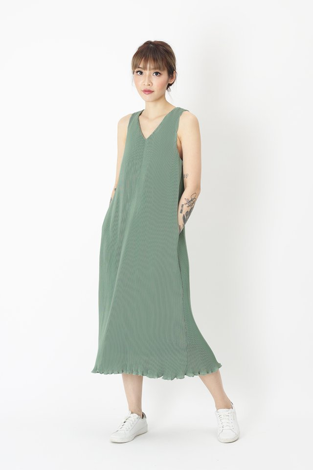 CHARLIZE PLEATED MIDI DRESS IN SAGE
