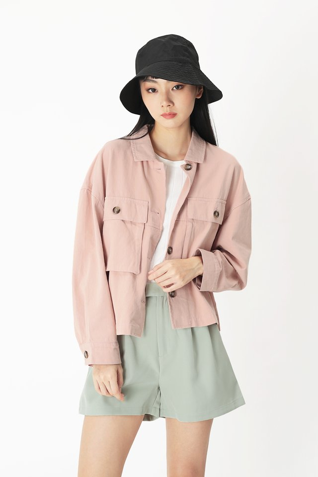 EDNA OVERSIZED JACKET IN PINK SHERBET