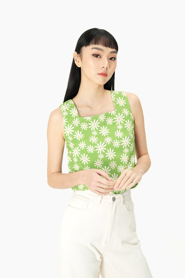 ELLIS DAISY SQUARE NECK TOP IN APPLE GREEN