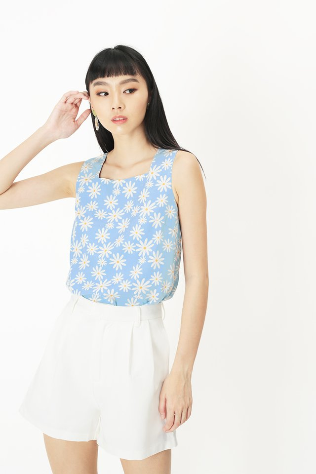ELLIS DAISY SQUARE NECK TOP IN SKY