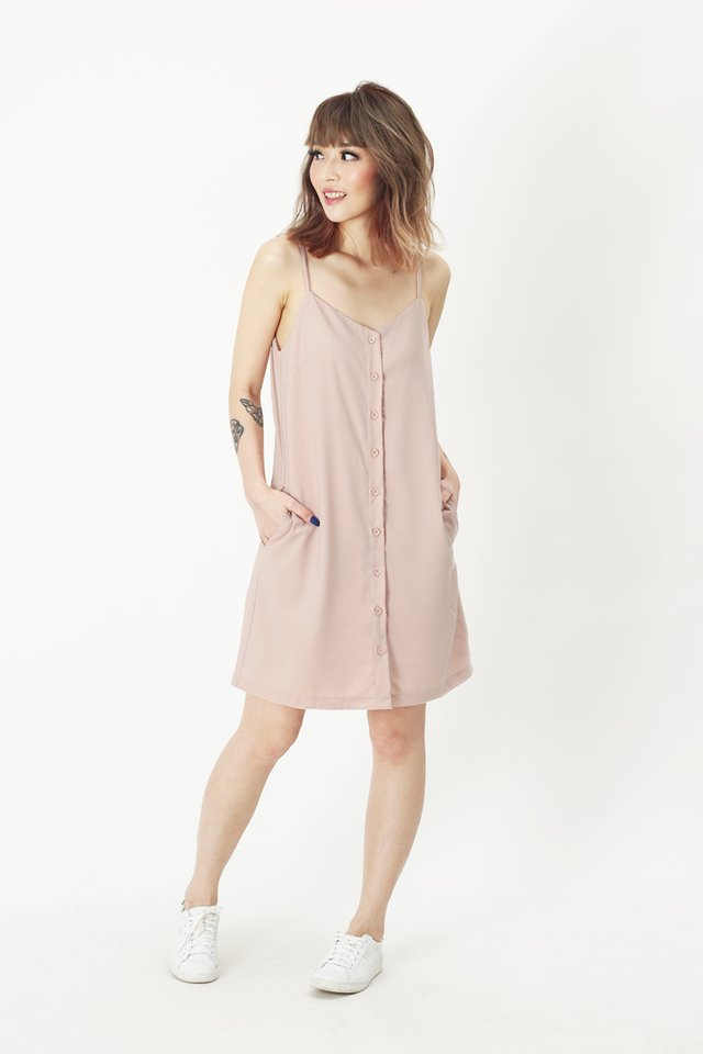 EMMA BUTTON DRESS IN FRENCH PINK
