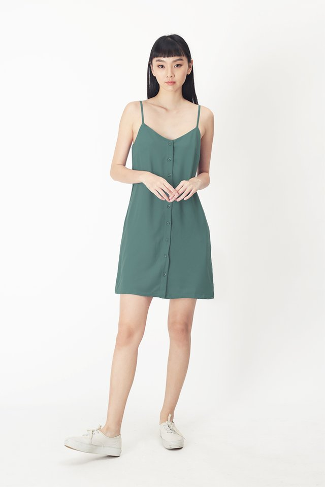 EMMA BUTTON DRESS IN PINE