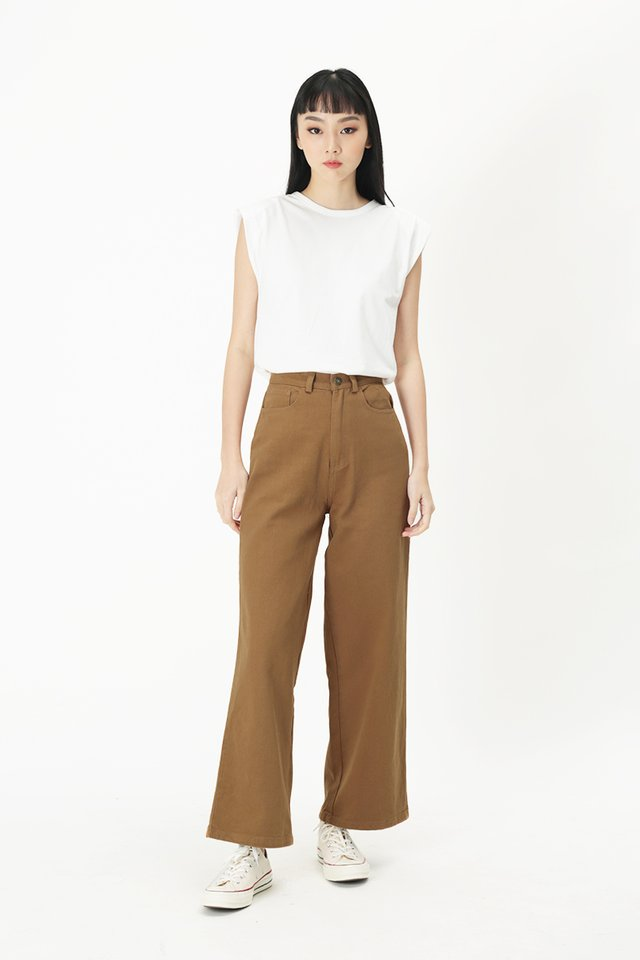 FAUSTINE STRAIGHT LEG DENIM JEANS IN CARAMEL