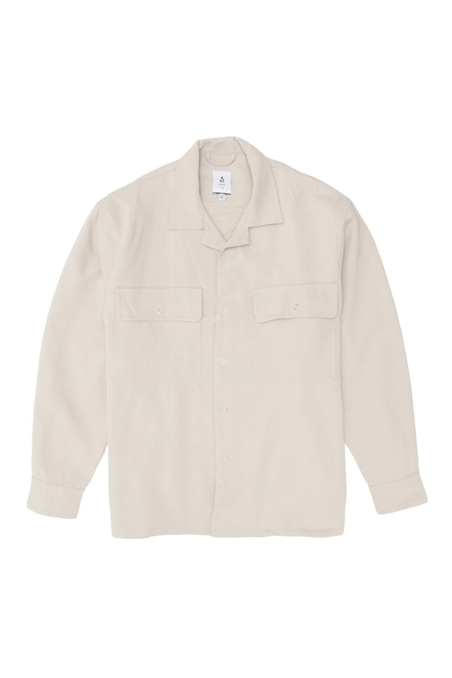 LINUS CAMP COLLAR OVERSHIRT IN CREAM