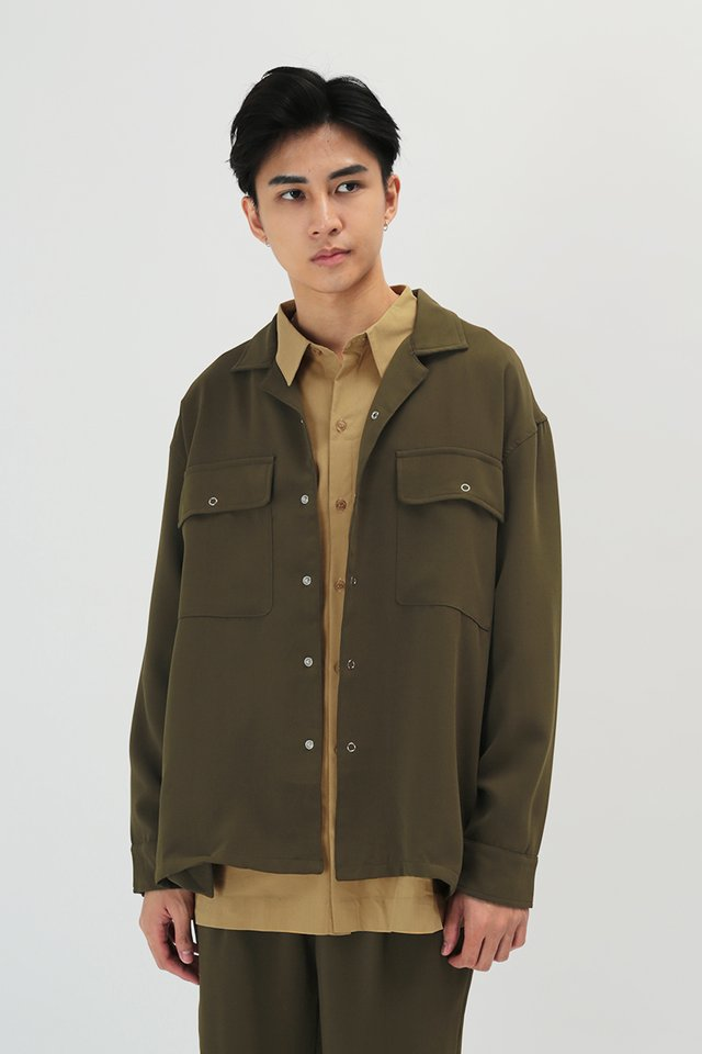 LINUS CAMP COLLAR OVERSHIRT IN OLIVE