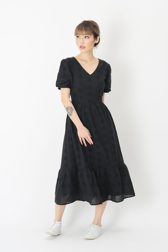 MARIGNAN EYELET DRESS IN BLACK