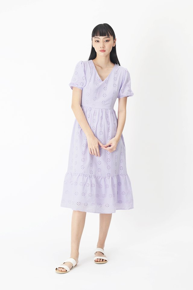 MARIGNAN EYELET DRESS IN LILAC