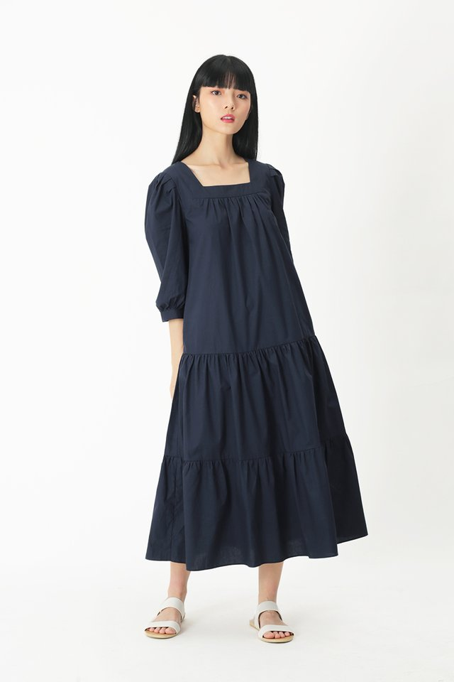 THERESE TIER DRESS IN NAVY