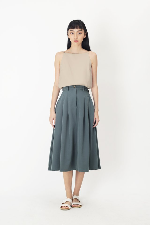 ADINA PLEATED SKIRT IN PACIFIC BLUE