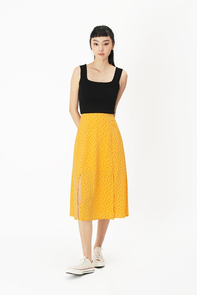 AMY CHERRY MIDI SKIRT IN HONEY