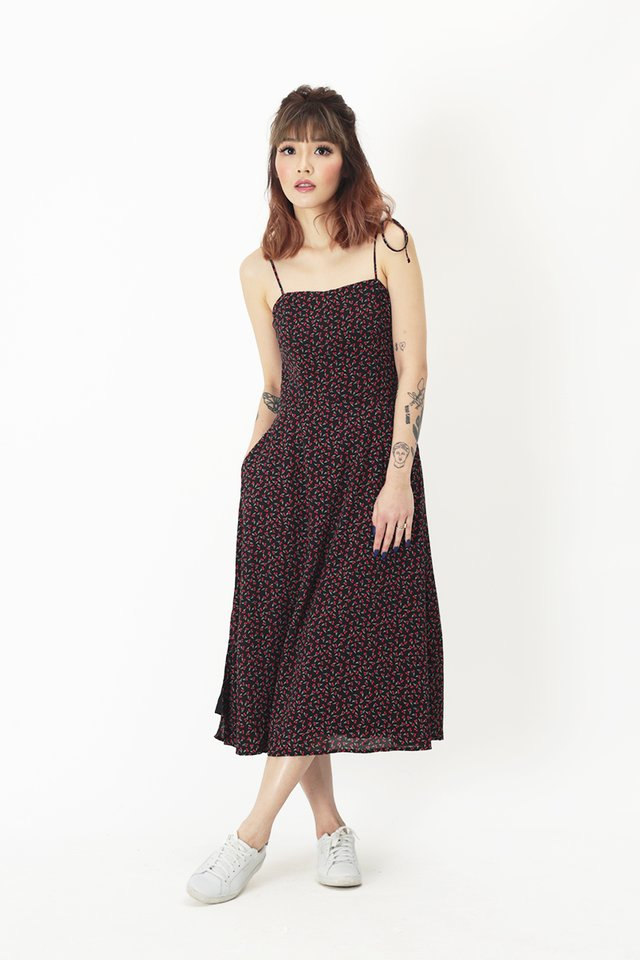 BRANDI CHERRY SPAG DRESS IN BLACK