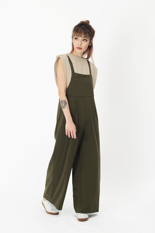 COURTNEY PINAFORE JUMPSUIT IN OLIVE