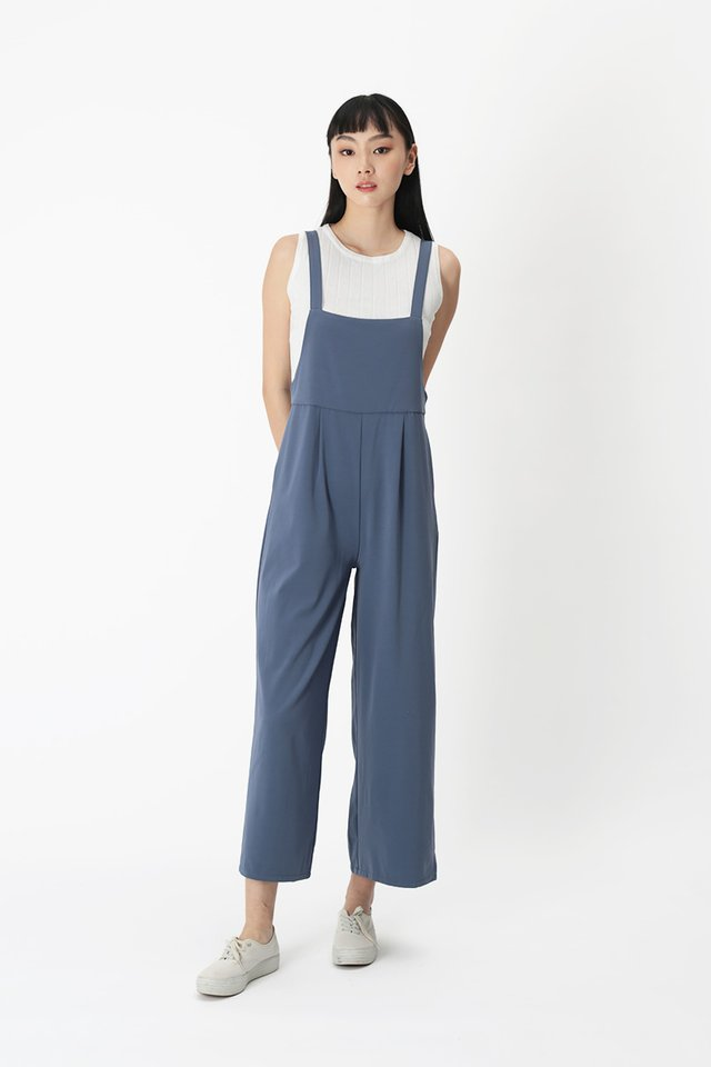 COURTNEY PINAFORE JUMPSUIT IN PACIFIC BLUE
