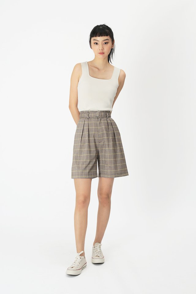 DAMIEN CHECKERED BOY SHORTS IN BROWN