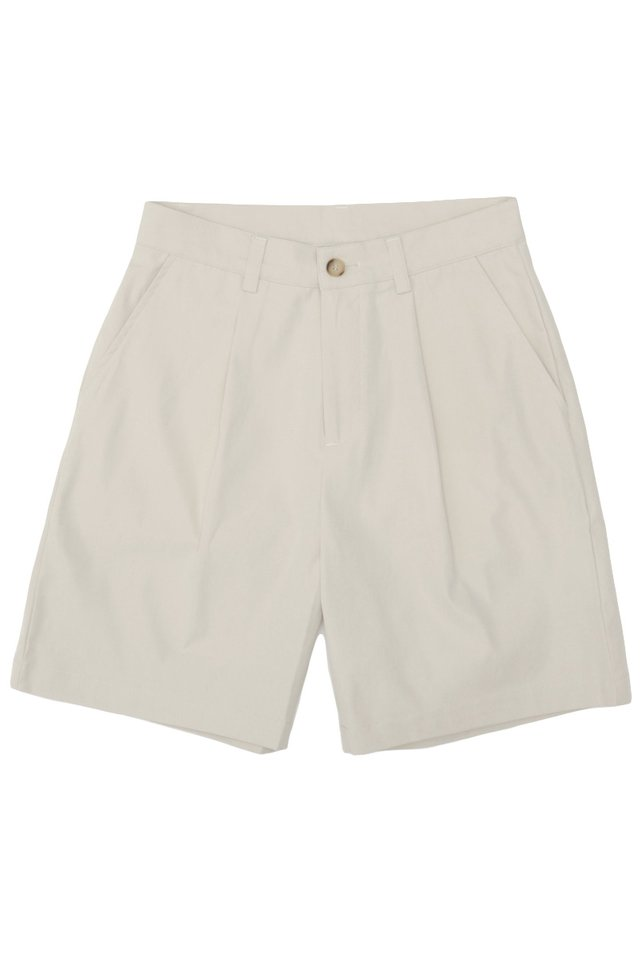 EDISON PLEATED SHORTS IN BONE