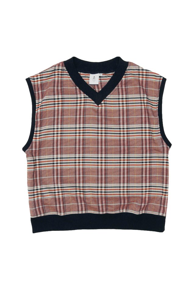 ERNEST V-NECK CHECKED VEST IN NAVY