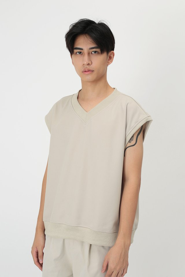 ERNEST V-NECK VEST IN BONE