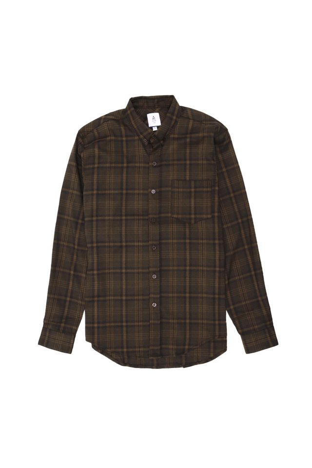 FELIX LONG SLEEVE CHECKED SHIRT IN DARK BROWN