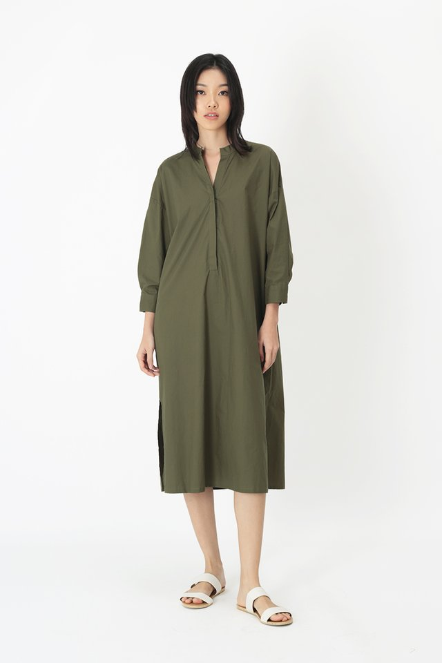 GRETA MIDI DRESS IN VINEYARD GREEN