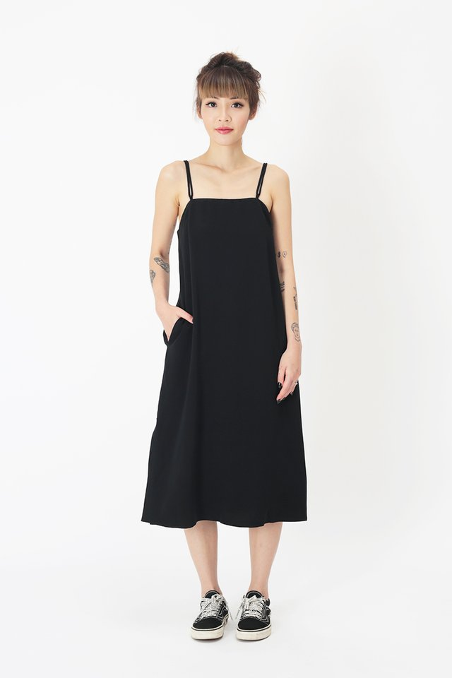 ISABEL DUO STRAP DRESS IN BLACK