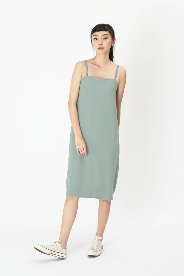 ISABEL DUO STRAP DRESS IN FROST GREEN